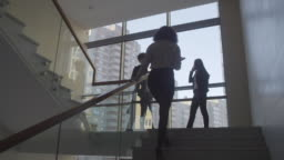 Businesswomen Discussing Work on Stairs Landing