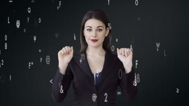 vídeos de stock, filmes e b-roll de businesswomen zoooming in on virtual data numbers. female sales person thinking about business strategy - manipulação digital