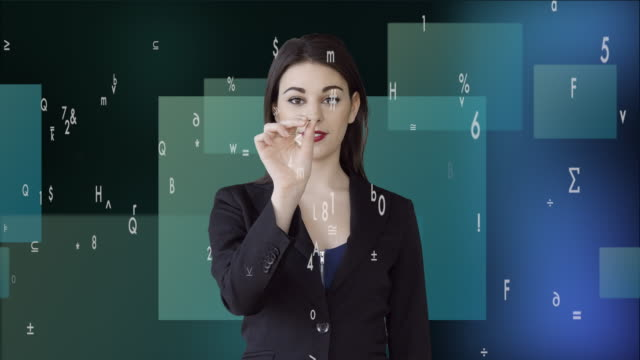 businesswomen zoooming in on virtual data numbers. female sales person thinking about business strategy - digital enhancement stock videos & royalty-free footage