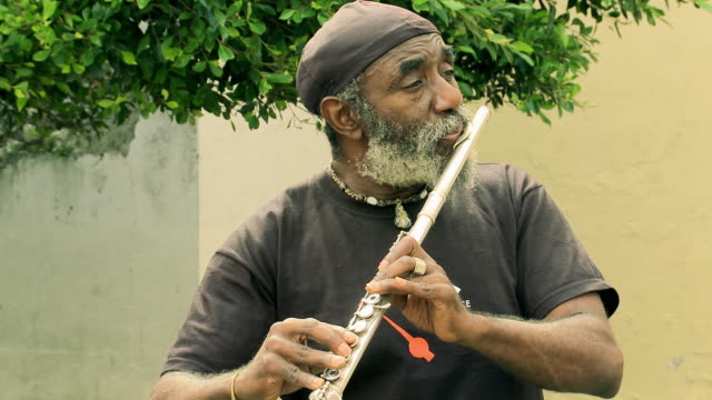 busker playing flute (if audio is used, rights need to be cleared for music) / audio - street performer stock videos & royalty-free footage