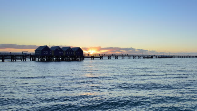 busselton jetty, western australia, time lapse - jetty stock videos & royalty-free footage