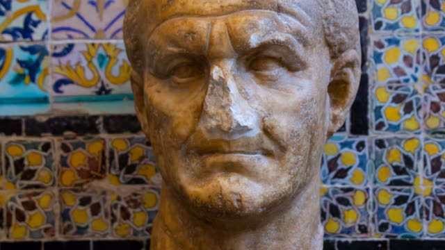 bust in bardo museum - bust sculpture stock videos and b-roll footage