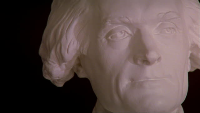 cu bust of thomas jefferson at the university of virginia / charlottesville, virginia  - thomas jefferson stock videos & royalty-free footage