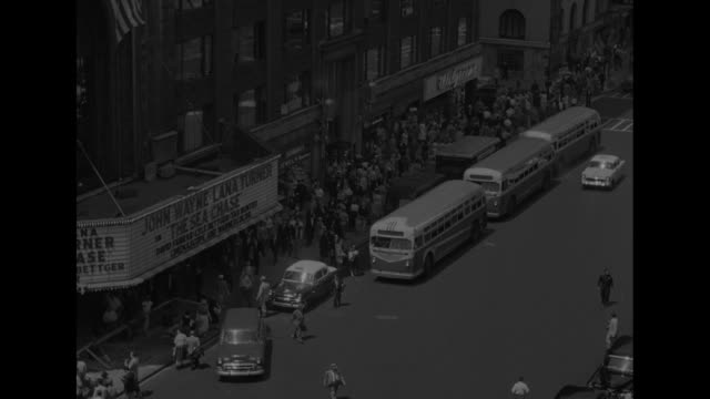 vs bustling street scenes of broadway and times square in manhattan new york city taken before a civil defense drill with schrafft's and the... - air raid siren stock videos & royalty-free footage