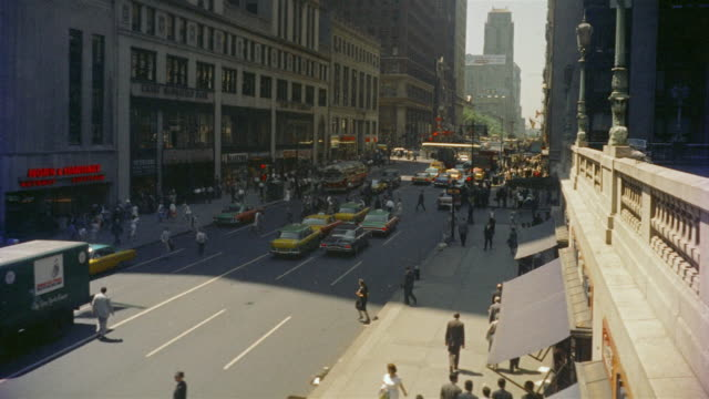 1958 ha ws busy 42nd street seen from grand central station / manhattan, new york - 1958 stock videos & royalty-free footage