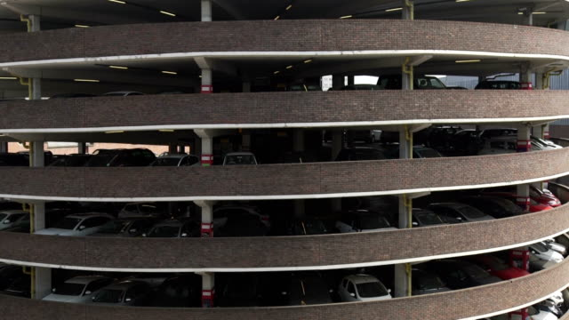 busy 70s multistorey spiral car park in newcastle upon tyne city centre uk