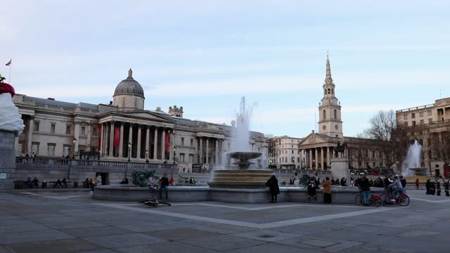 busy, bustling trafalgar square on february 20th, 2021 in london, united kingdom. after a surge of covid-19 cases, fueled partly by a more infectious... - sweet food stock videos & royalty-free footage