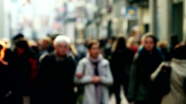 busy city street full of shoppers - blurred motion stock videos & royalty-free footage
