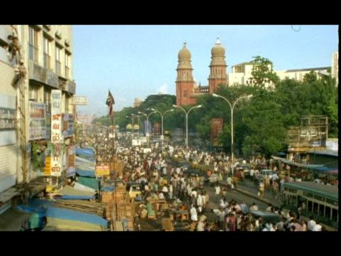 wa busy city street, high angle view, madras, india - chennai stock videos & royalty-free footage