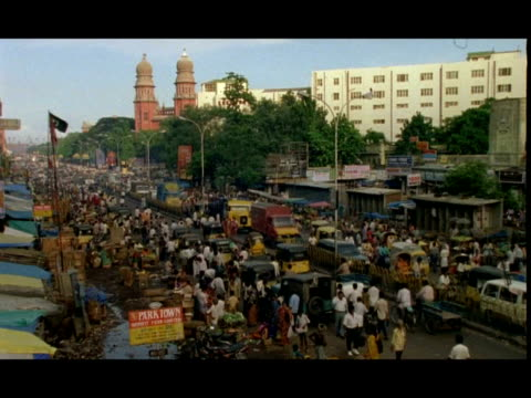 wa busy city street, pedestrians and traffic, high angle view, madras, india - chennai stock videos & royalty-free footage