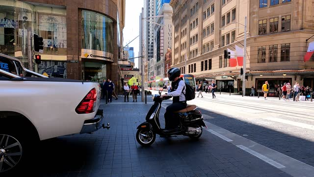 busy city street, people, transport, covid-19 economic recovery, time lapse, sydney - crossroad stock videos & royalty-free footage