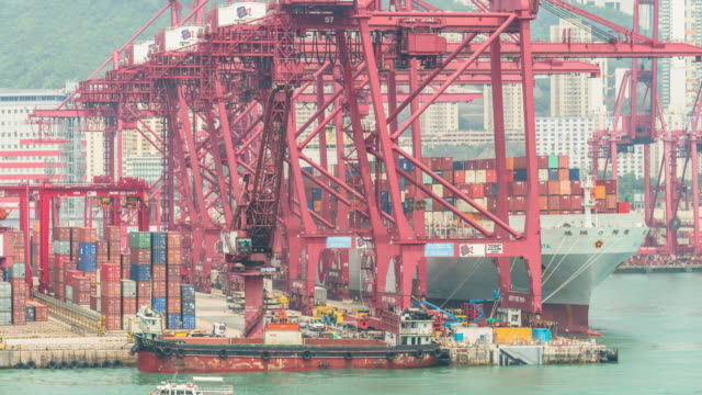 Busy container harbor Hong kong at day, timelapse 4k.