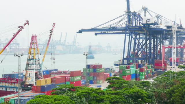 Drukke container haven Hong kong ten dage, timelapse 4k.