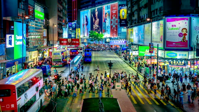 Drukke Crosswalk nachts