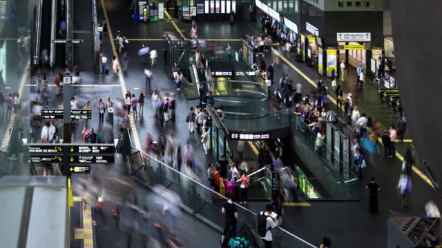 busy crowds in kyoto station - time lapse - escalator stock videos & royalty-free footage