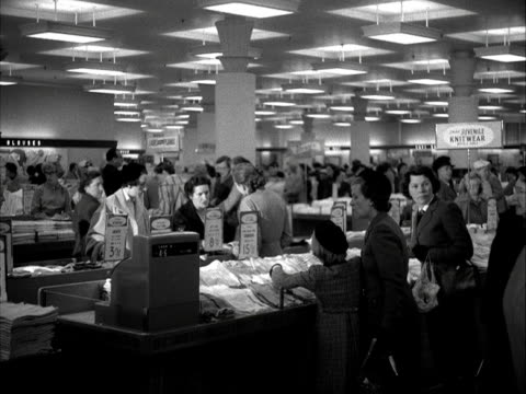 busy department store. 1955. - department store stock videos & royalty-free footage