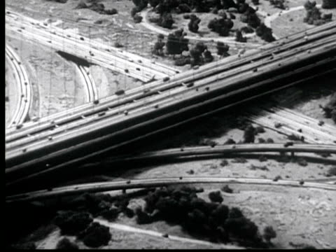 1945 B/W AERIAL WS Busy expressway interchange w/ moving cars / New York City, USA / AUDIO
