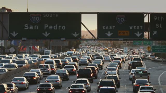 Busy LA Freeway Traffic at Rush Hour