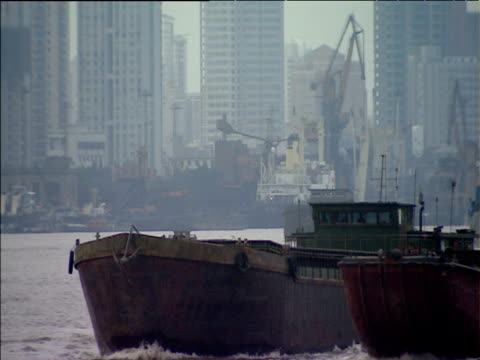 busy freight shipping in huangpu river shanghai - river huangpu stock videos & royalty-free footage