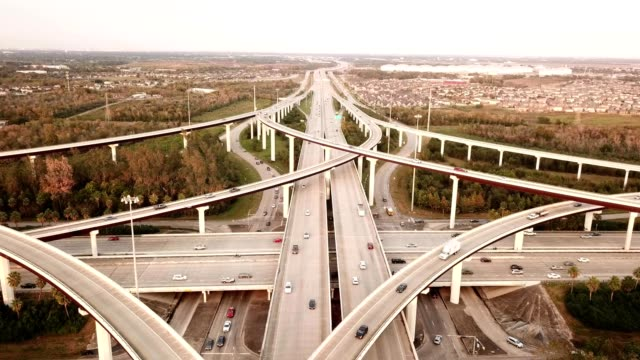 busy highway in houston - motorway stock videos & royalty-free footage