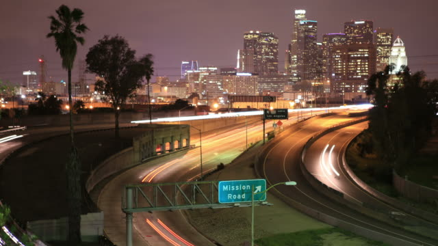 busy la highway(multiple clips) - wide shot stock videos & royalty-free footage