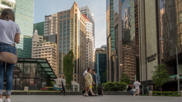 busy human in central business district - raffles city stock videos & royalty-free footage