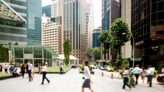 busy human traffic in central business district - singapore stock videos & royalty-free footage