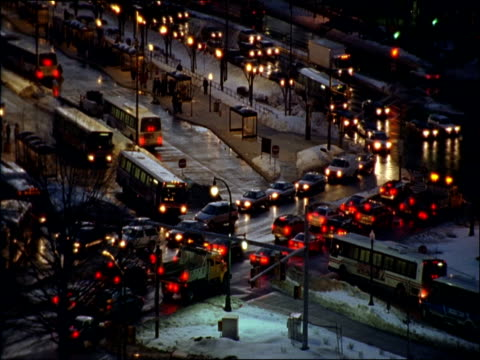 MS, HA, FOCUSING, Busy intersection on winter night, Silver Spring, Maryland, USA