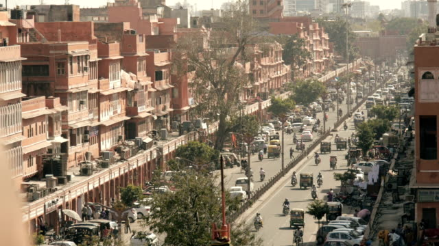 busy jaipur pink city street from above - smog stock videos & royalty-free footage