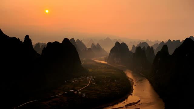 busy li river's waterway - li river stock videos & royalty-free footage