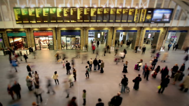 busy london train station - railway station stock videos and b-roll footage