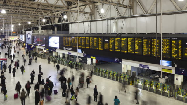 a busy london waterloo railway station, england. - digital signage stock videos and b-roll footage