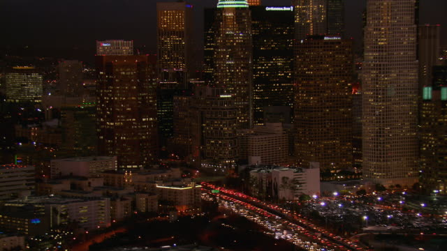Busy Los Angeles Freeway At Night