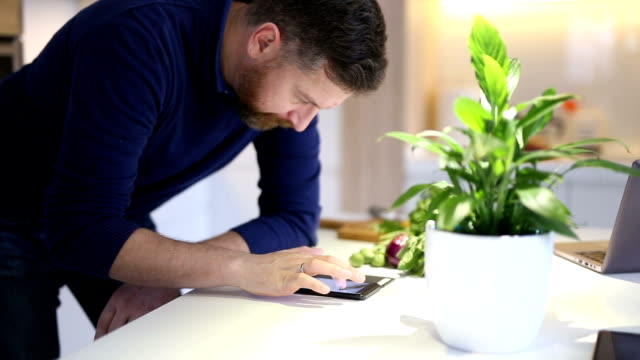 busy man using smartphone in the kitchen - beard stock videos & royalty-free footage