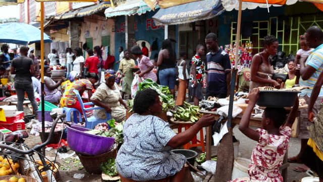 busy market in takoradi, ghana - ghana stock videos & royalty-free footage