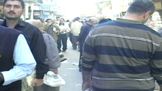 busy market scene in baghdad on october 15, 2005 in baghdad, iraq - destruction stock videos & royalty-free footage
