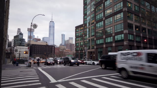 busy new york intersection with taxi cab - tribeca stock videos & royalty-free footage