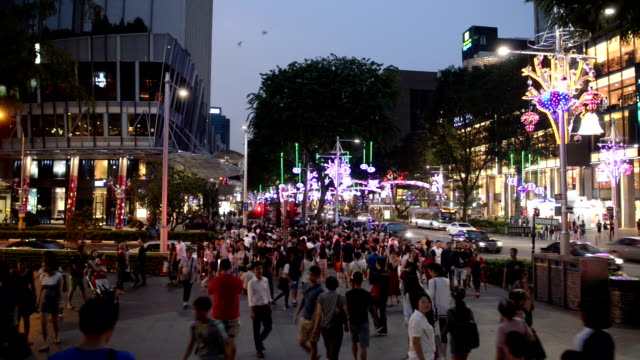 busy orchard road during christmas festive season - orchard stock videos & royalty-free footage