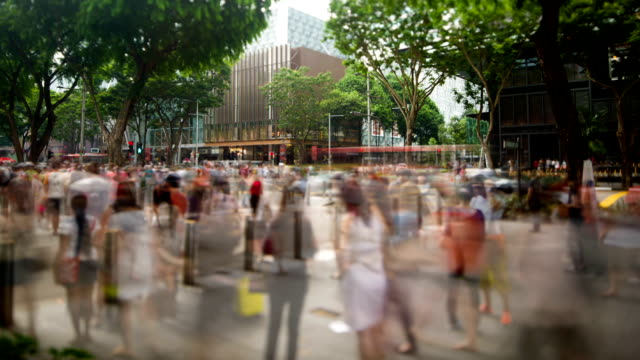 busy orchard road scene - singapore stock videos & royalty-free footage