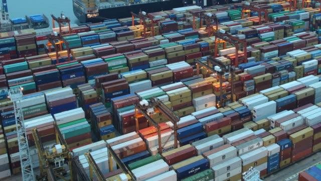 T/L AERIAL Busy port at dusk / Hong Kong, China
