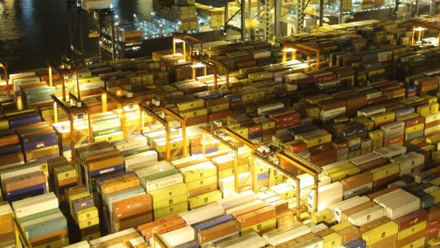 T/L AERIAL Busy port at night / Hong Kong, China