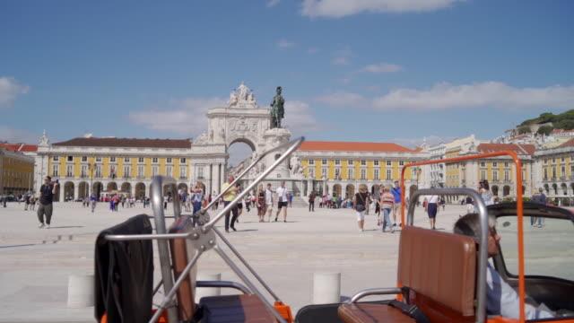 busy praca do comercio in lisbon - portugal stock videos & royalty-free footage