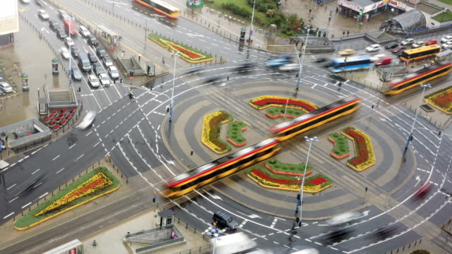 busy roundabout time lapse - warsaw stock videos & royalty-free footage