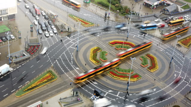 busy roundabout time lapse - warsaw stock videos and b-roll footage