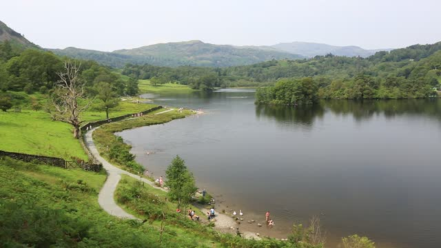 busy rydal water in the lake district after covid restrictions were eased allowing people to enter the national park. - summer stock videos & royalty-free footage