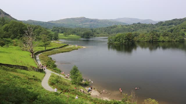 busy rydal water in the lake district after covid restrictions were eased allowing people to enter the national park. - landscape scenery stock videos & royalty-free footage
