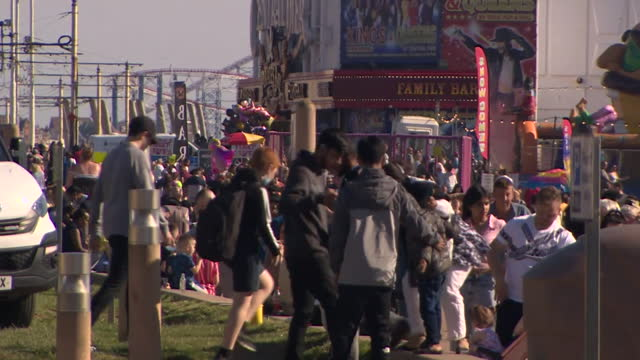 busy scenes in blackpool on a sunny bank holiday monday, during the easing of lockdown restrictions during the coronavirus pandemic - sunny stock videos & royalty-free footage