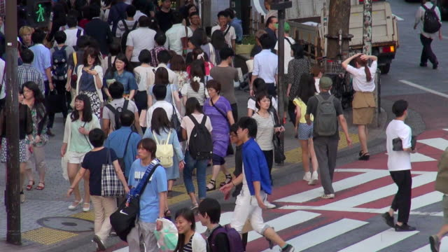 busy shibuya street crossing - road signal stock videos & royalty-free footage