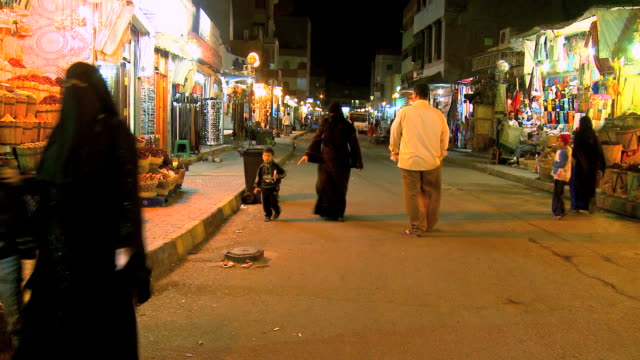 WS PAN Busy shopping street at night / Hurghada, Red Sea coast, Egypt