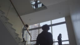 Busy Staircase in Office Building